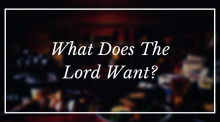 What Does The Lord Want?